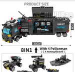 SWAT Police Station Truck Model Building Blocks City Machine Helicopter Car Figures