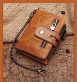 Genuine Leather Men Wallet Coin Purse Small Mini Card Holder Chain