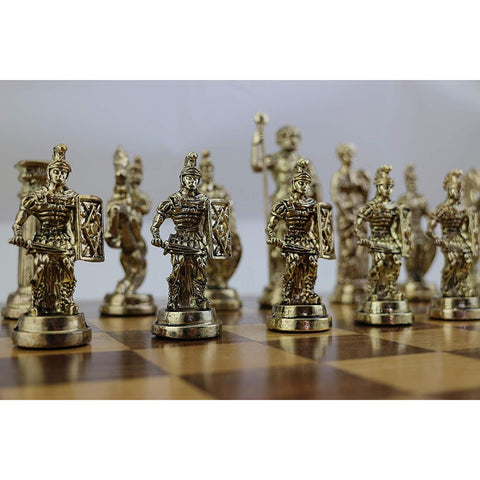 (Only Chess Pieces) Historical Handmade Rome Figures Metal Chess Pieces Big Size King 11cm (Board is Not Included)