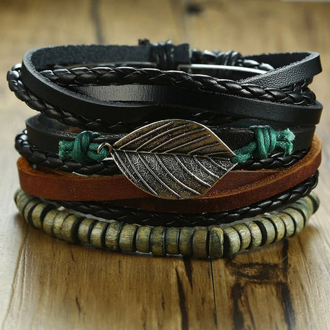 4Pcs/ Set Braided Wrap Leather Bracelets for Men Vintage Life Tree Rudder Charm Wood Beads Ethnic Tribal Wristbands