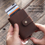 Leather Card Holder Wallet Men Automatic Pop Up ID Card Case