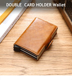 Credit Card Holder Wallet Leather Metal Aluminum Double Credit Cardholder
