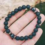 Men Bracelet Natural Moonstone Bead, Lava Stone
