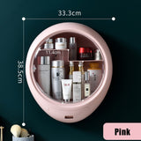 Bathroom Wall-mounted Makeup Organizer Punch-free Large Capacity Jewelry Cosmetic Storage Box Women Skin Care Beauty Rack