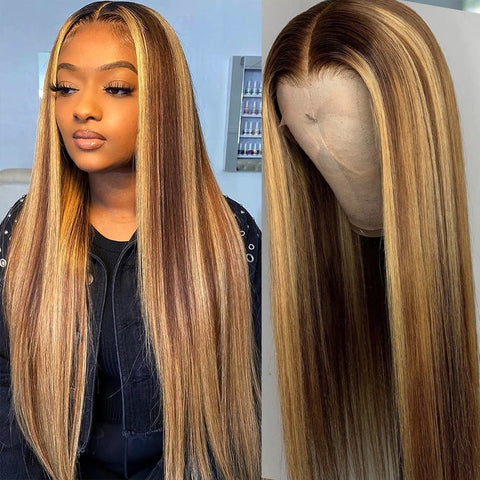 Human Hair Lace Wigs Ombre Straight 28 30 Inch Wig Honey Blonde 13x1 Hd Full Highlight Lace Front Human Hair Wigs