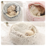 New Style Pet Dog Cat Bed Round Plush Cat Warm Bed House Soft Long Plush Bed For Small Dogs For Cats Nest 2 In 1 Cat Bed