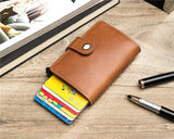 Casual Card Holder Hasp Protector Smart Card Case Metal RFID Aluminum Box Slim Men and Women ID Holder PU Leather