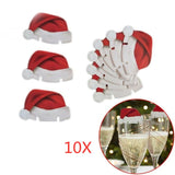 Christmas Decorations Hats 10pcs/lot Champagne Glass Decor Party Home Ornament New Year 2021 Noel Navidad Natal