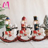 Wooden crafts horse riding 30cm nutcracker king and soldier modeling puppet statue home decoration