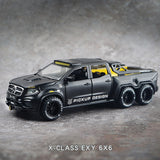 Simulation Alloy Car Modle BENZXCLASS EXY 6X6 Pickup 1/28 Metal Toy Car Sound Light Pull Back Model