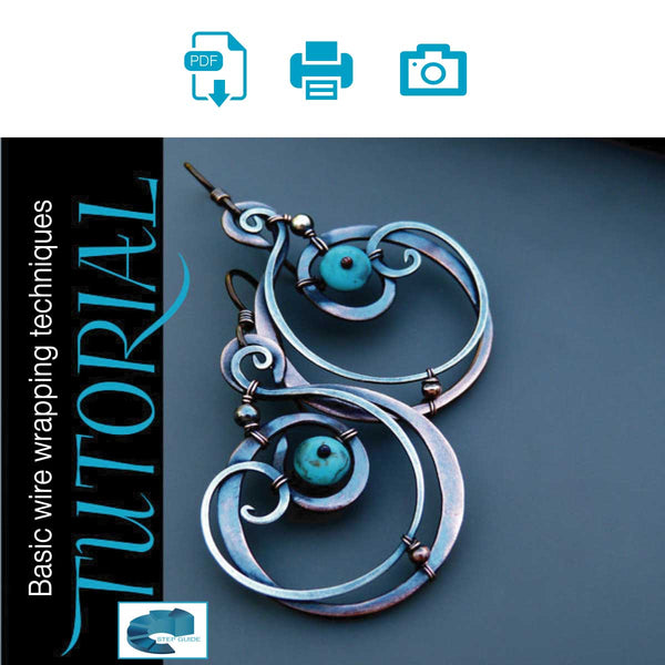 Sky Guide 1: Wire Wrapped Mixed Metal Earrings Step Guide Tutorial - Metal Clay Adventures