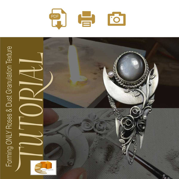 Sky Guide 9+: Silver Metal Clay Hand-forming + Stone Setting Step Guide Tutorial - Making Roses And Dust Granulation Texturing - Metal Clay Adventures