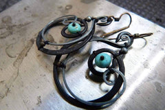 Tutorial - The Seed Within - Wire Wrapped Mixed Metal Earrings with Turquoise Stones-Sky And Beyond Jewelry By Rodi