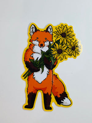 Fox & Flowers Sticker