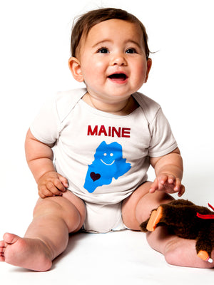 Organic Maine Heart Baby One Piece