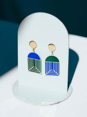 Blue Green Translucent Arch Earrings