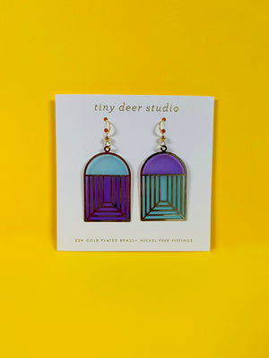 Blue Purple Translucent Arch Earrings