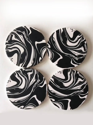 Marbled Ceramic Coaster Set