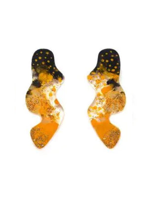 Black and Gold Abstract Squiggle Earrings