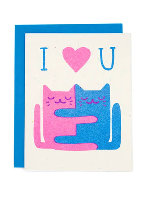 Hugging Cats Card