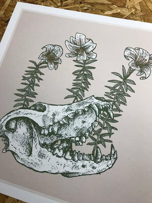 Skull and Flowers 12.5x12.5in Giclee Print