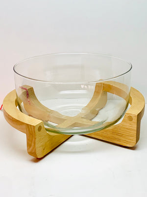 Glass Bowl With Wooden Stand