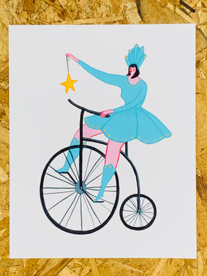 """Bike Lady"" 8-10in Art Print by Liz Long"