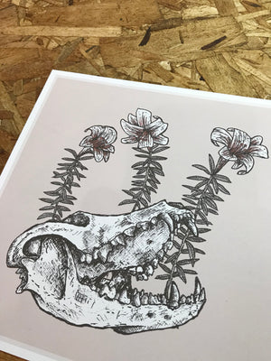Skull and Flowers 8-8in Giclee Print