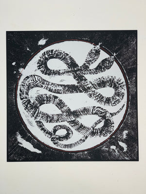 """Two Headed Snake"" 12.5-12.5in Screen Print"
