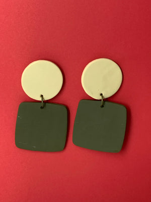 Cream / Olive Earrings