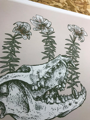 Skull and Flowers 12.5-12.5in Giclee Print
