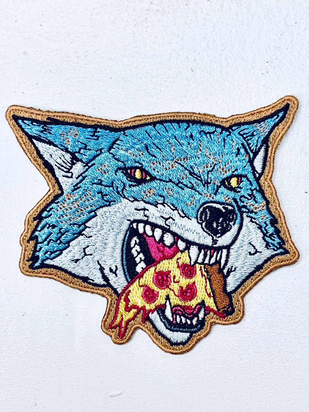 Pizza Wolf die cut Embroidered Patch