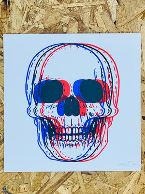 "3D Skull 8"" by 8"" Screen Print by Kris Johnsen"