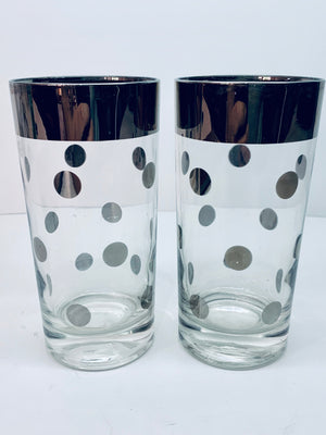 Set of 2 Silvery Polkadot Vintage Glasses