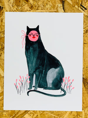 """Sitting Black Cat"" 8-10in Art Print by Liz Long"