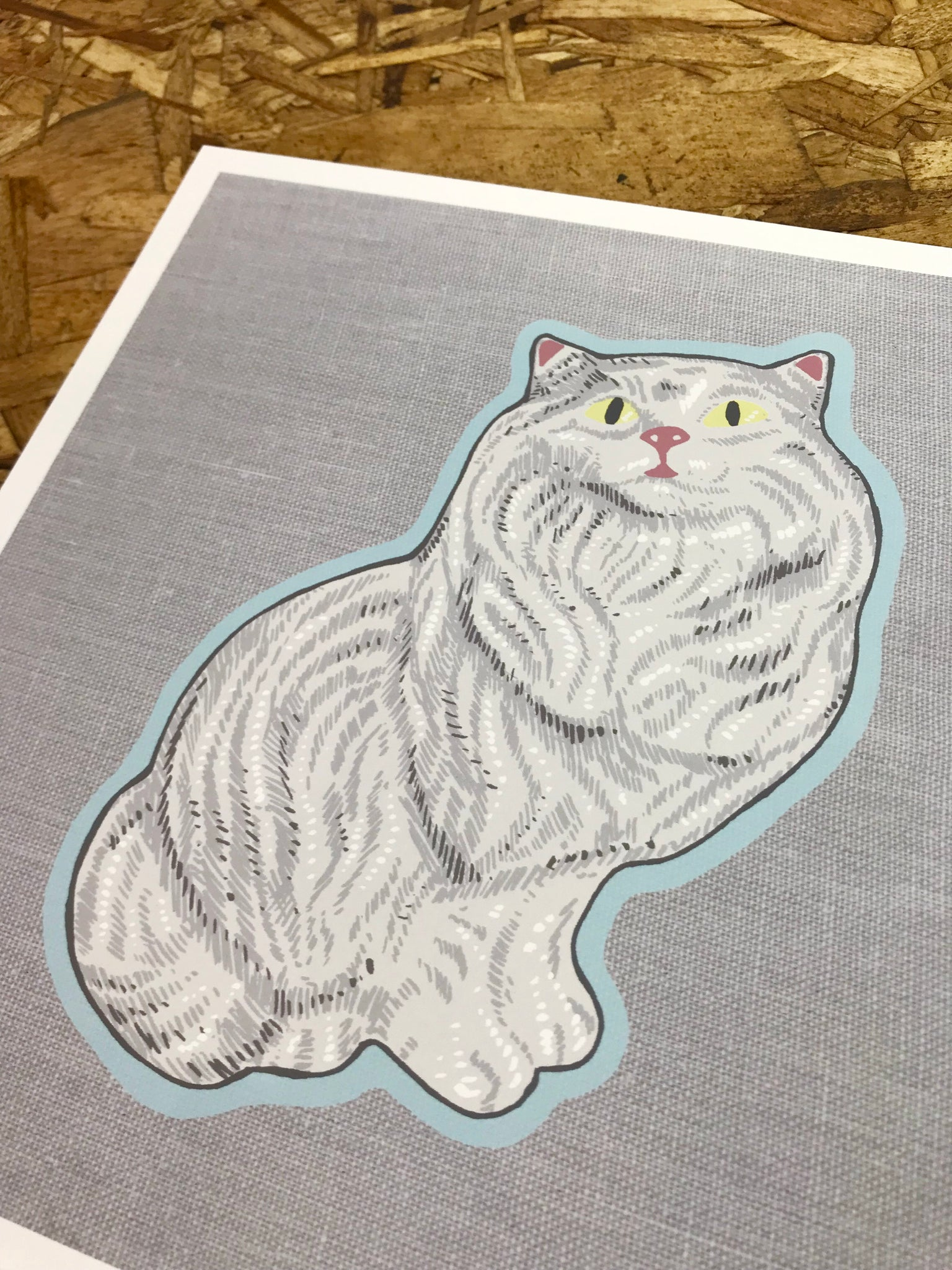 Ceramic Cat 8x8in Giclee Print