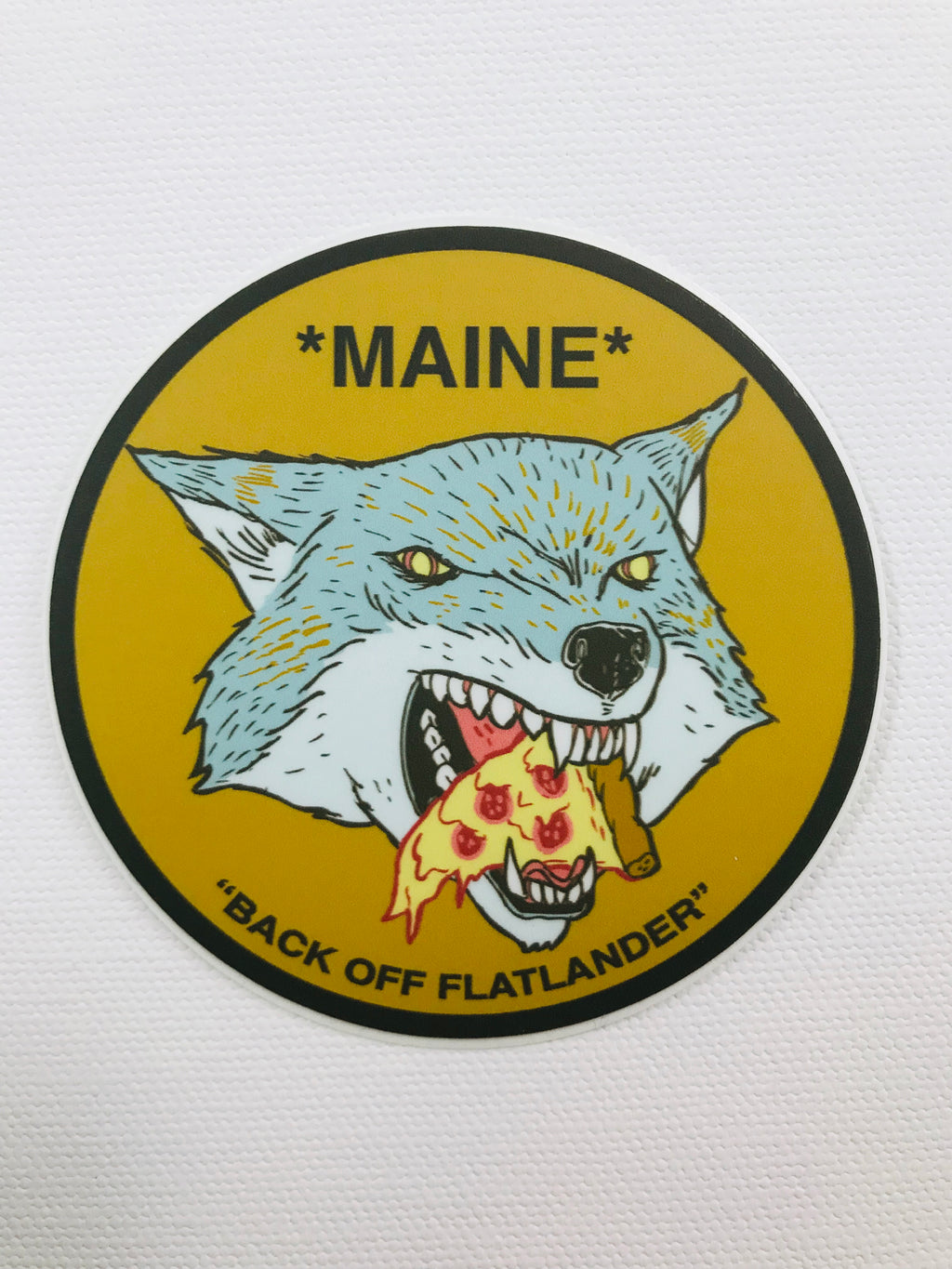Maine Pizza Wolf Sticker