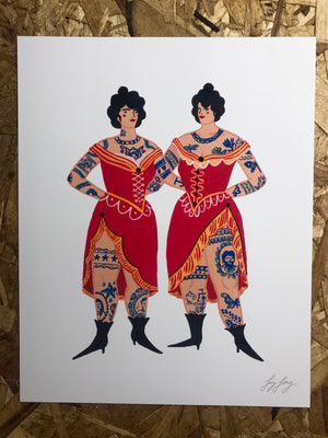 """Tattooed Sisters"" 8x10in Art Print by Liz Long"