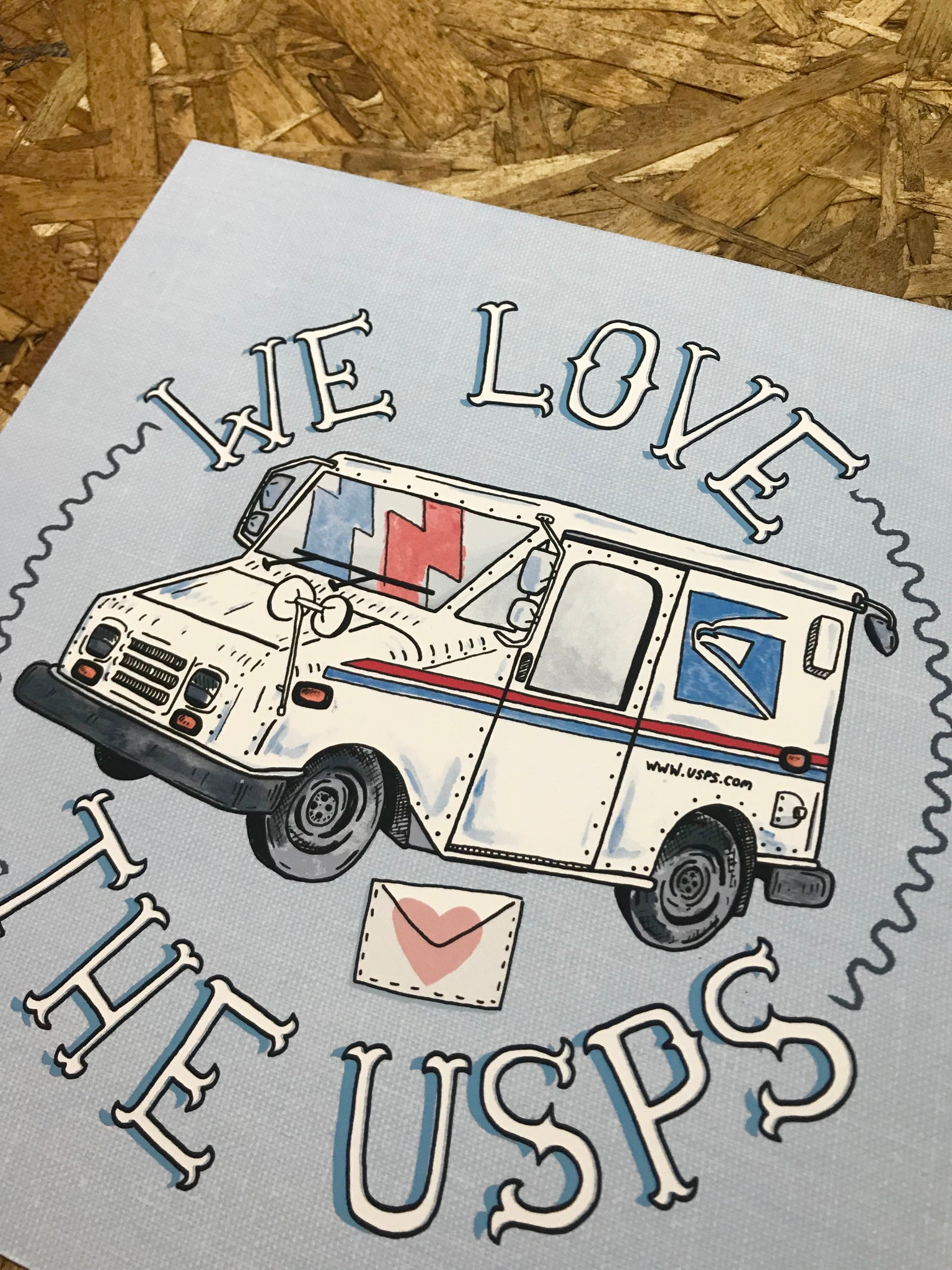We Love The USPS 8x8in Giclee Print