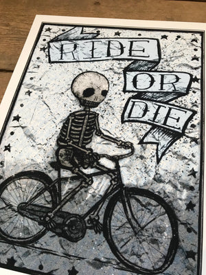 Ride or Die Biker 12-16in Giclee Print by Kris Johnsen