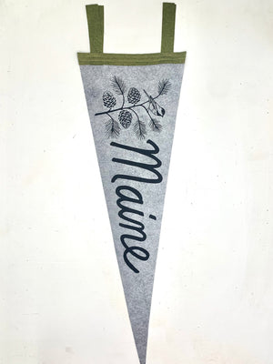 Maine Pinecone & Chickadee Pennant (Assorted Colors)