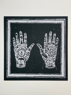 "Tattooed Hands"" 12.5-12.5in Screen Print"