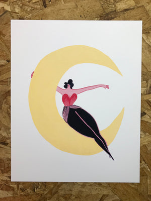 """Lady and the Moon"" 8x10in Art Print by Liz Long"