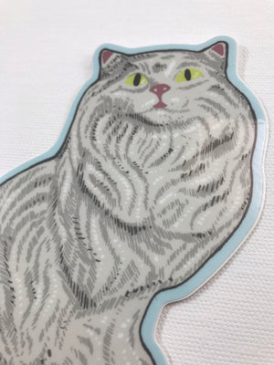 White Ceramic Cat Sticker
