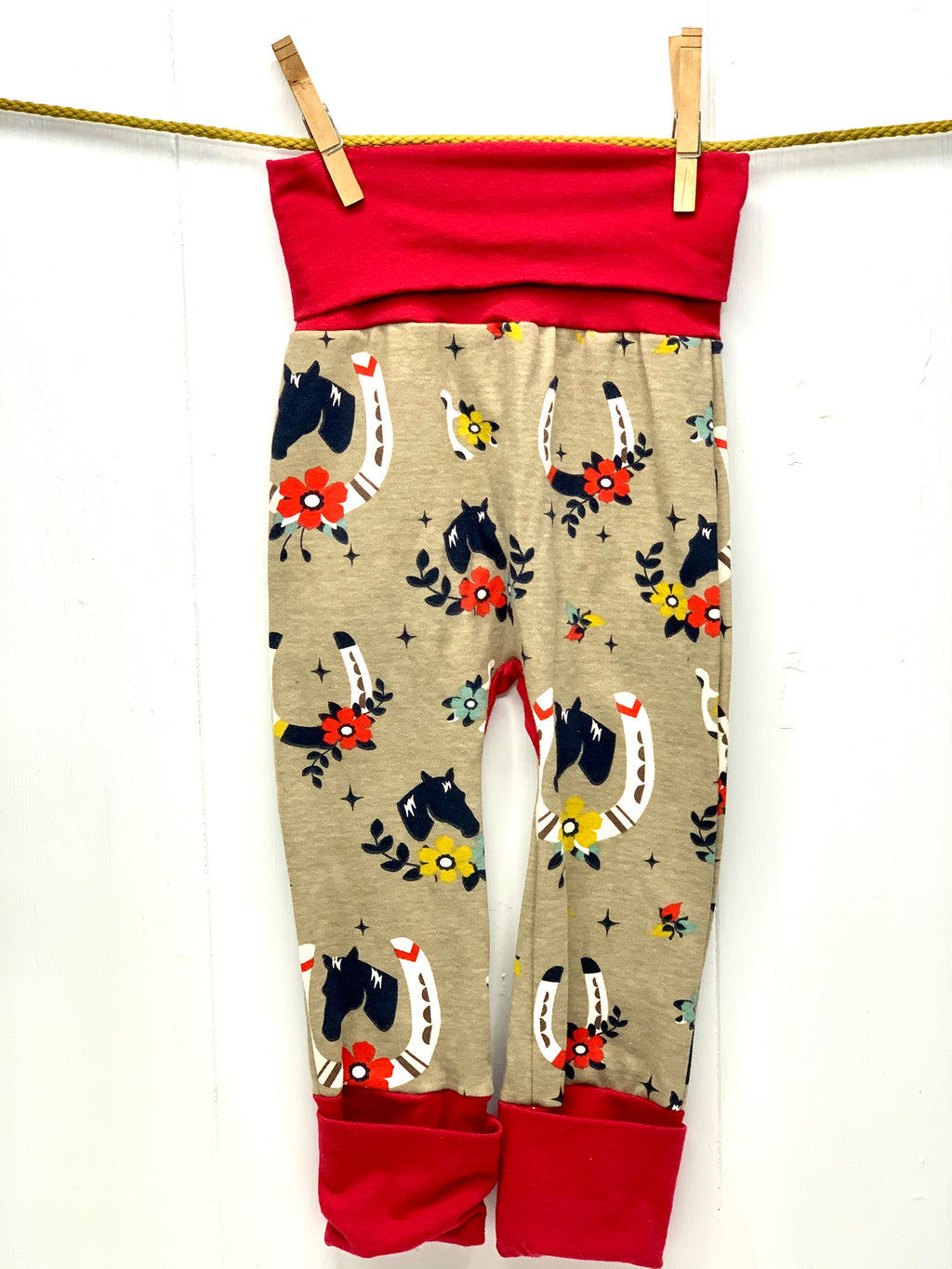 Mama Hen Grow with Me Pants (lucky horse)