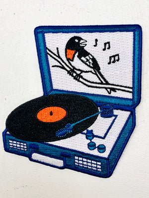 Bird Record Player Embroidered Patch