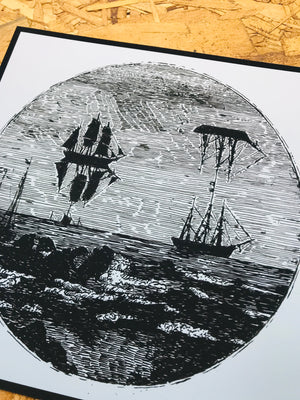 Ship Mirage 8-8in Giclee Print