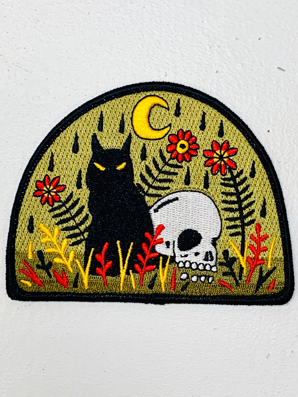 Cat & Skull Embroidered Patch