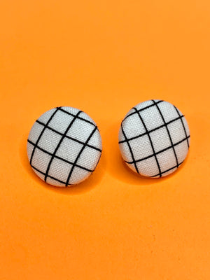 Jenny Studs Black and White Grid Earrings