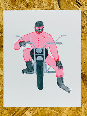 """Werewolf Biker"" 8-10in Art Print by Liz Long"